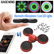 Handsfree Call Fidgt Spinner Bluetooth Speaker With Microphone Colorful Flashing Hand Spinner EDC Spiner Tri-Spinner Finger Toy