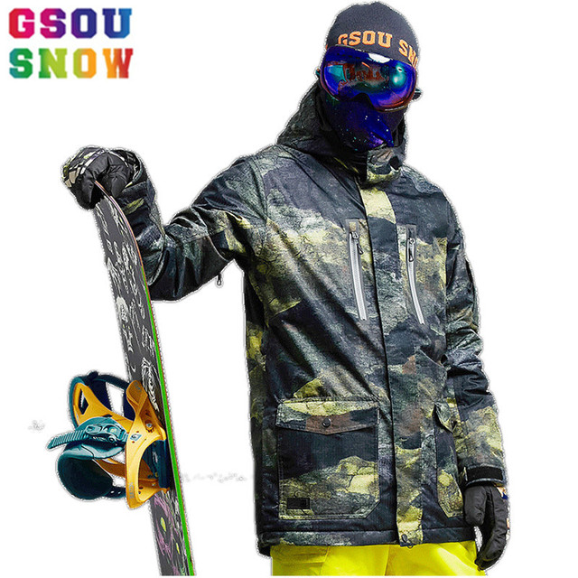 731bb9358a GSOU SNOW Brand Ski Jacket Men Snowboard Jacket Waterproof Mountain Skiing  Suits Winter Outdoor Sport Clothing Male Snow Coat