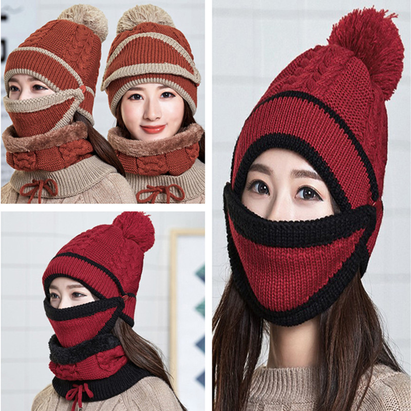 Women Winter Beanies Knitted Thickened Hat With Warm Mask And Neck Scarf