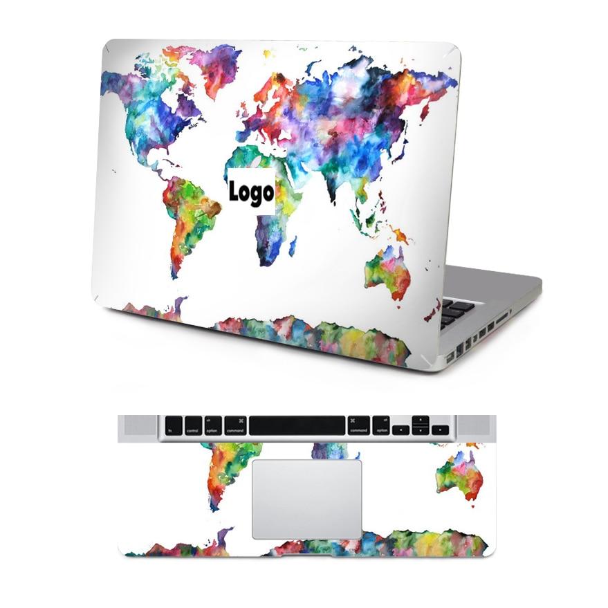 YCSTICKER - Laptop Full Skin World Map Utskrifts Dekal Top Side & - Laptop-tillbehör