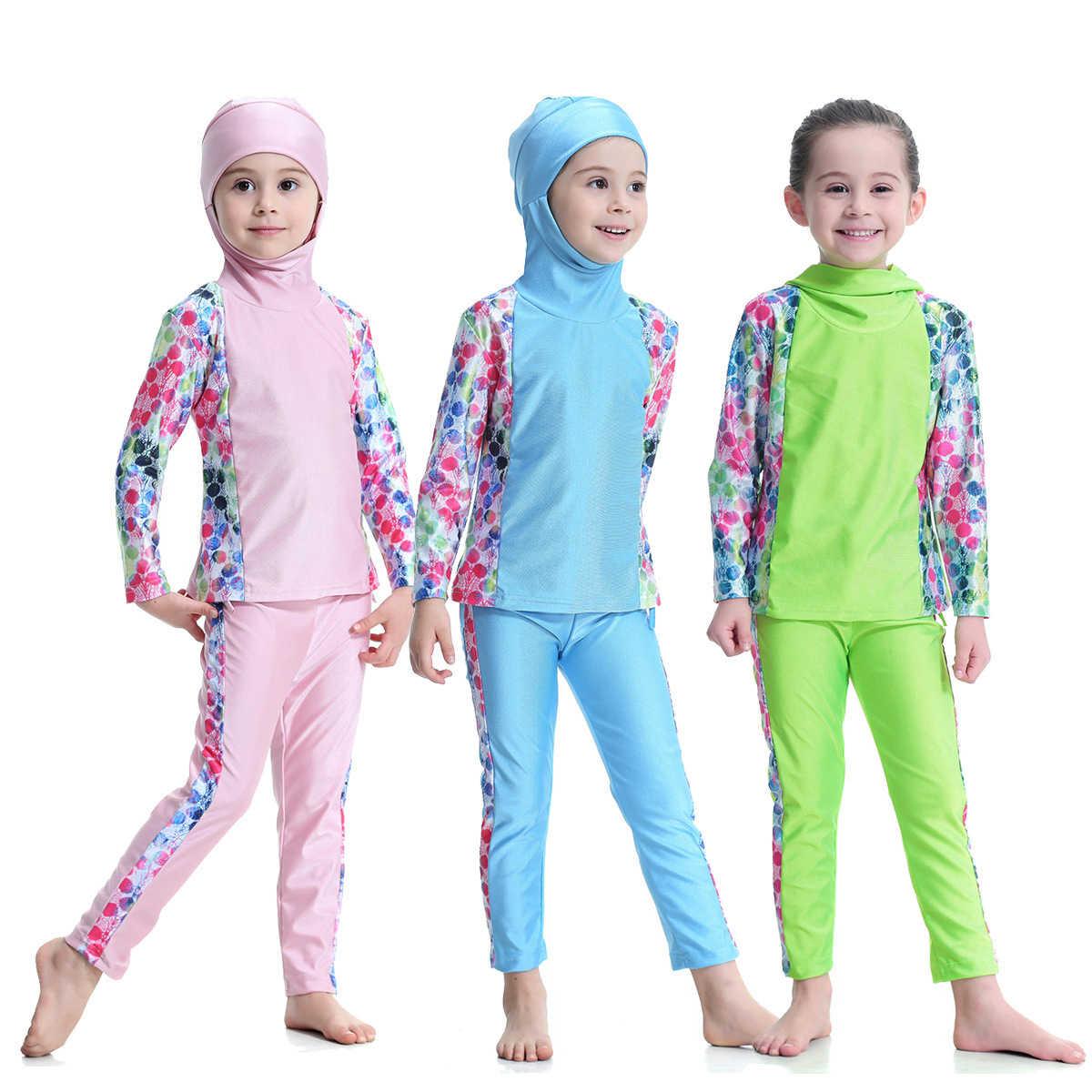 Medio Orientale Delle Ragazze Costumi Da Bagno Conservatore Pieno Costume Da Bagno Hijab Camicia A Maniche Lunghe Pantaloni 2 Pcs Bambini Islamico Musulmano Costumi Da Bagno Costume Da Bagno Per Musulmani Aliexpress