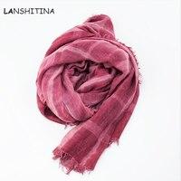 Di alta qualità di arte stile sciarpa in cotone e lino piegare sporco dye donna scialle qiu dong Una ragazza è per ristabilire i sensi antichi commercio all'ingrosso