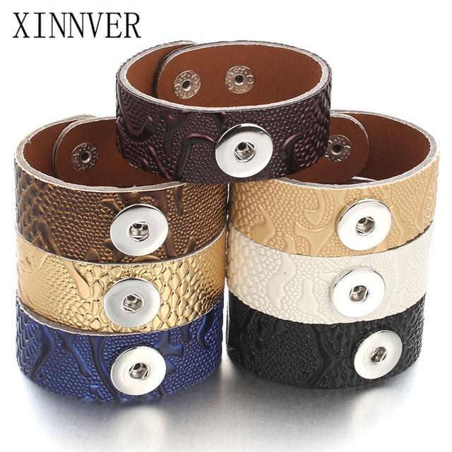 Nieuwste Lederen Brede Manchet Snap Armband Armbanden 18mm Drukknoop Sieraden Voor Mannen of Vrouwen Mode DIY Armbanden Sieraden ZG513
