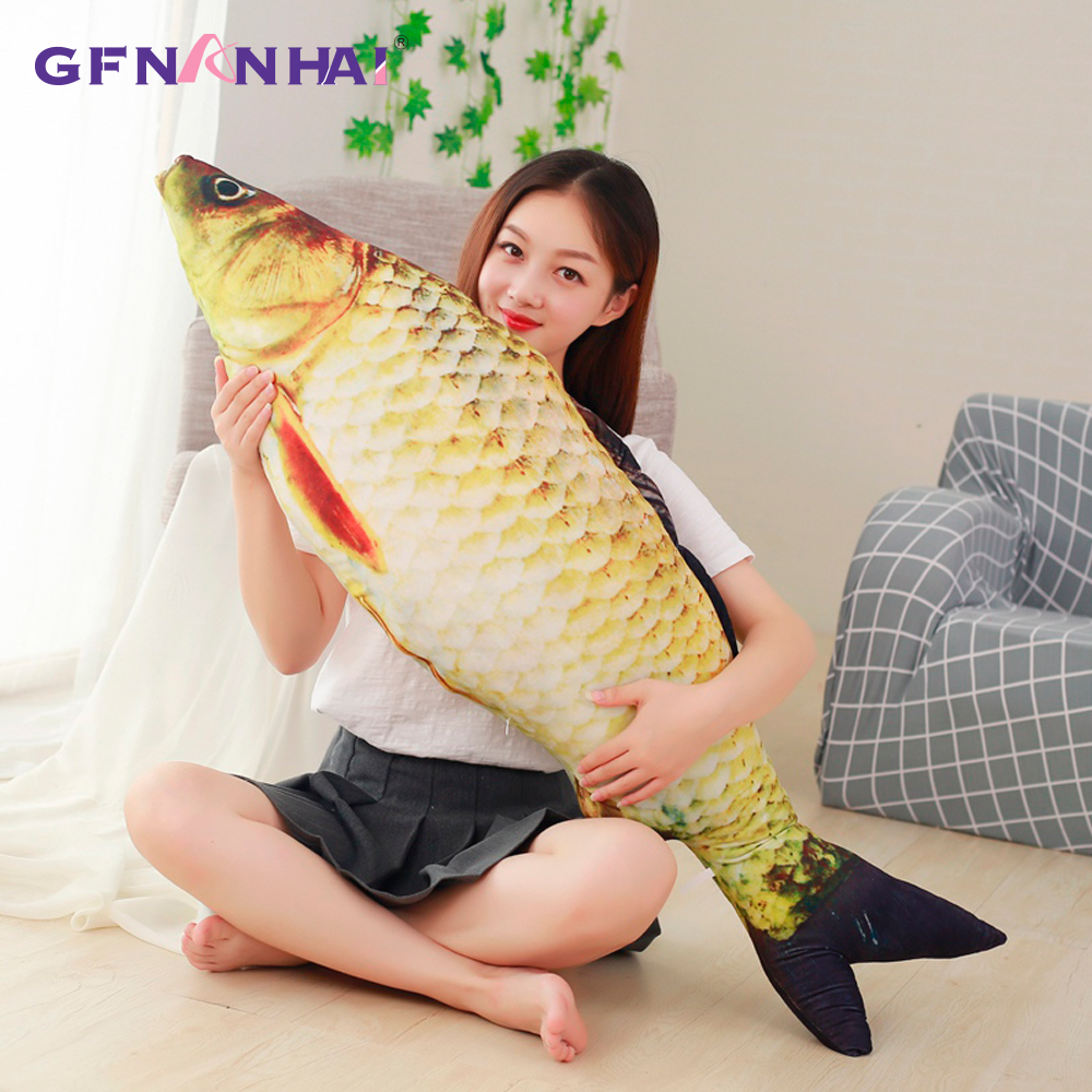 60/75/100/120cm 3D Simulation Carp Plush Toys Staffed Soft Animal Fish Plush Pillow Creative Sofa Pillow Cushion Gift Kids Toy huge plush carp fish toy simulation carp lucky fish doll gift about 120cm