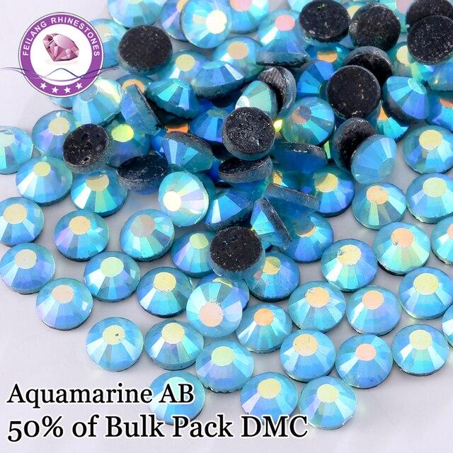 Mix Size Aquamarine AB DMC Hot Fix Rhinestones For Dance Dress Iron On Flat Back Crystals With Glue