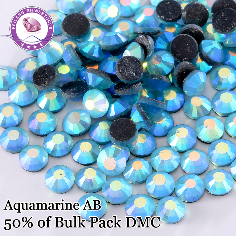Mix Size Aquamarine AB DMC Hot Fix Rhinestones For Dance Dress Iron On Flat Back Crystals With Glue