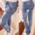 2016 Otoño Mujer Vaqueros Casual Agujeros Rasgados Lavados Lápiz Pantalones Pantalones Largos del Dril de Algodón Bajo la Cintura Delgada de Las Señoras de La Manera