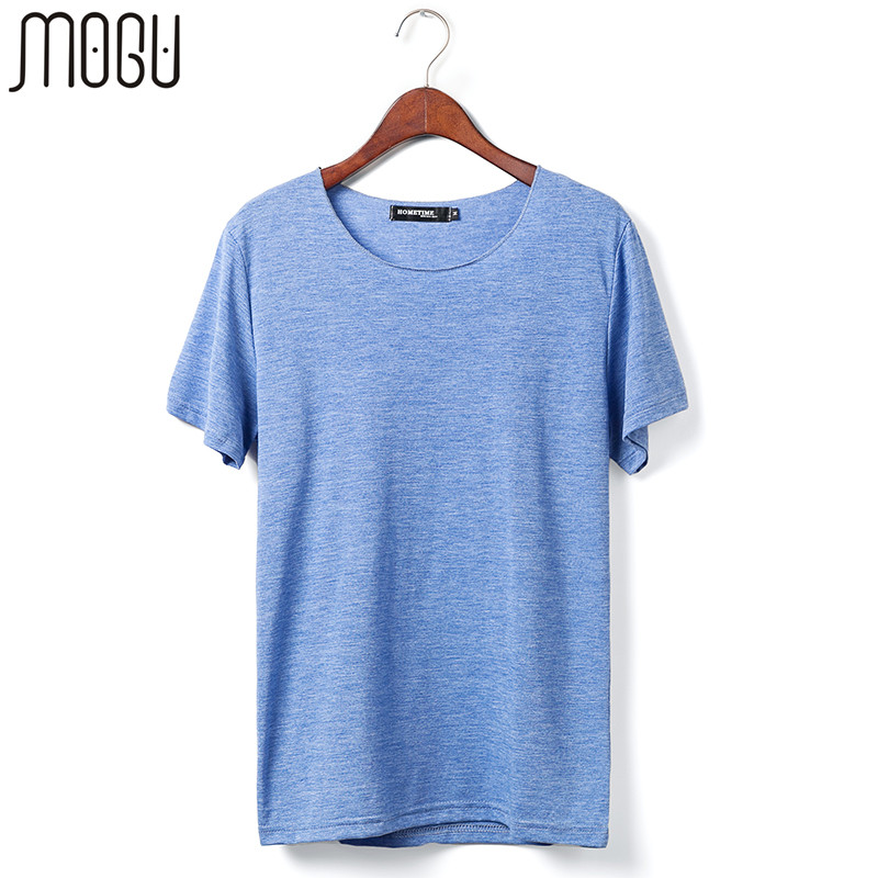 fadfbb15 MOGU Summer Mens Solid Color Short-sleeve T-shirt Plus Size M-6XL T ...