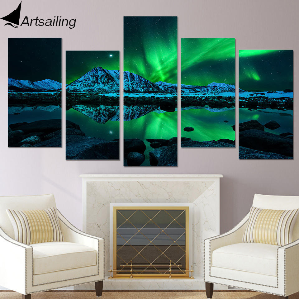 HD Print landscape painting 5 piece canvas art green aurora borealis lake wall picture for living room Modular pictures Giclee