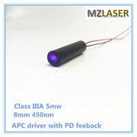 Fascia alta Classe IIIA 5 mW 8mm 450nm Blu Laser Modulo di Tipo Industriale con APC driver PD feeback