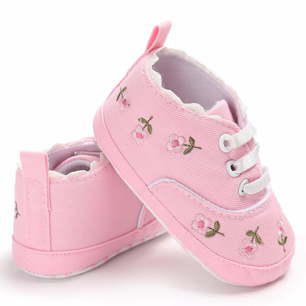 Newborn Infant Baby Girls Floral Crib Canvas Shoes Soft Sole Anti-slip Sneakers shoe sol ...