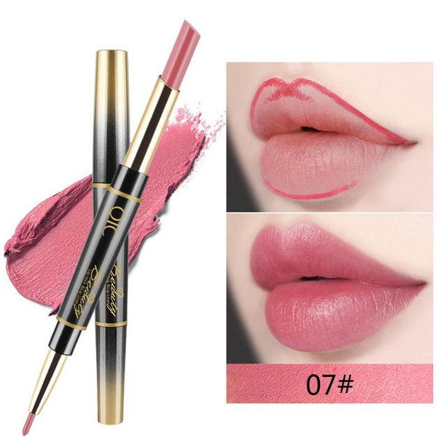 QIC Matte Lipstick Wateproof Double Ended Long Lasting Lipsticks Brand Lip Makeup Cosmetics Nude Dark Red Lips Liner Pencil 5