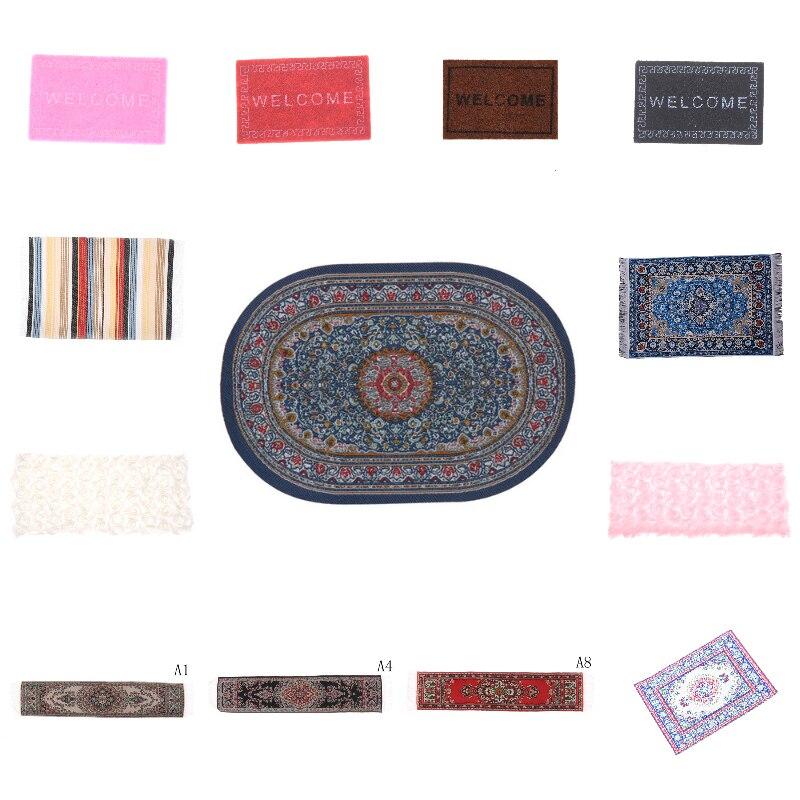 1/12 Scale Dollhouse Mini Carpet Mat/WELCOME Mat/Woven Carpet Miniature Casa De Boneca Dollhouse Accessories Kit Multicolor