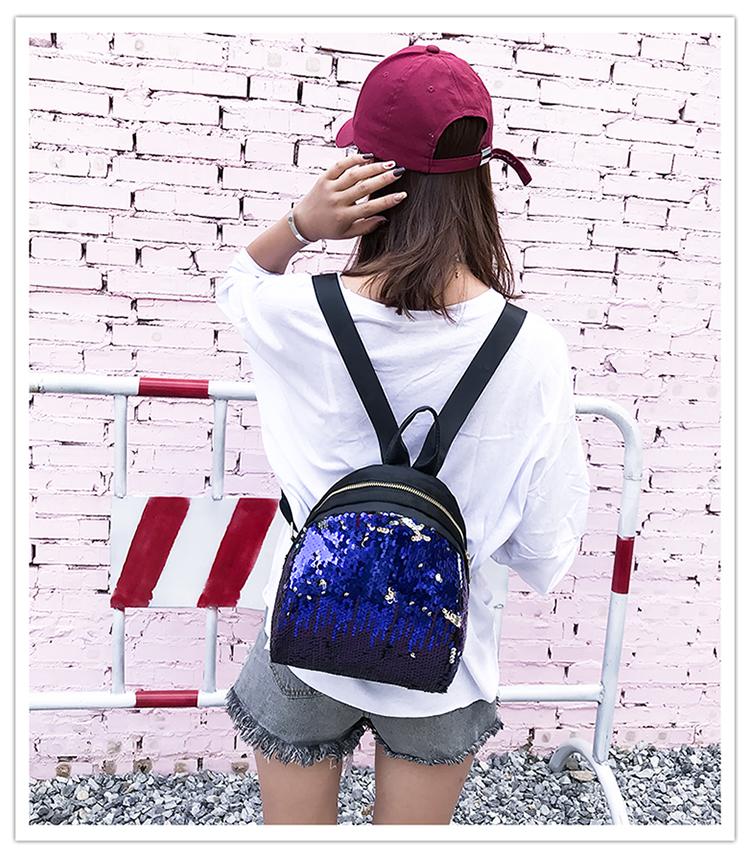 Backpacks women Korean mini 2018 new sequined shell fashion trend women go with small backpacks travel backpack 89