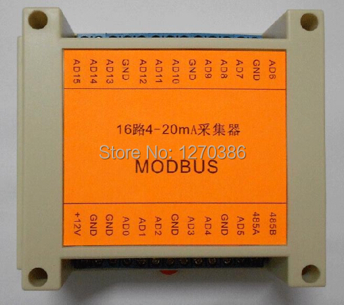 Free Shipping!!!  MODBUS RTU 16-channel 4-20MA acquisition of industrial grade communication module relay module rs485/232 2017 new arrival free shipping 8 ch modbus rtu rs485 network expansion board rs485 modbus rtu mode
