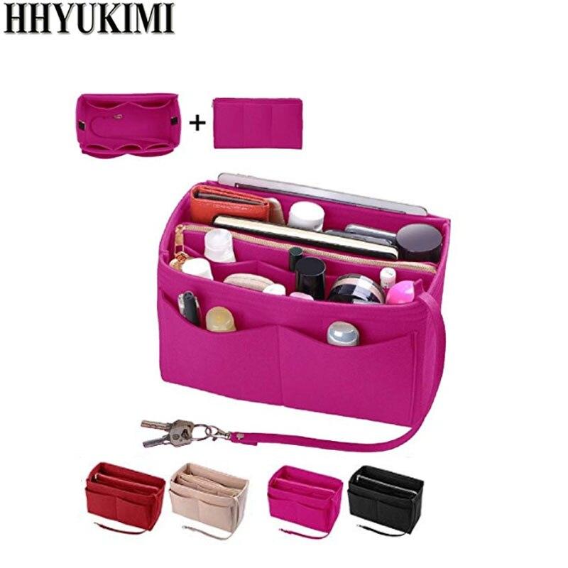 Maquillage organisateur Insert sac pour sac à main, feutre sac avec fermeture à glissière, voyage sac à main intérieur, Fit sacs à cosmétiques Fit divers marque sacs à main