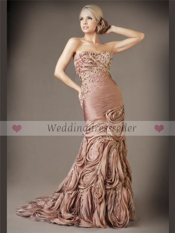 Complex Handmaking Pleat Ruched Beaded Sequins Pink Skin Color Backless Strapless Neck Mermaid Evening Dresses Expensive In Prom From Weddings