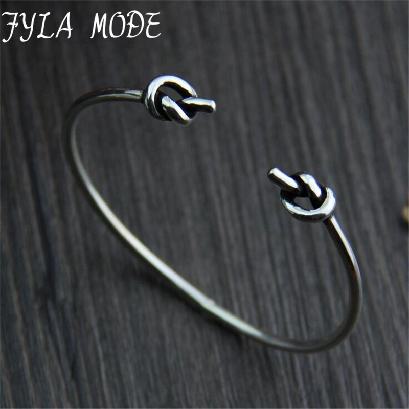 Fyla Mode Hot Sale Cuff Bangles Open Double Knot Bangles & Bracelets for Women Accessories Wedding Gifts 2.30mm 8.50G TYC099
