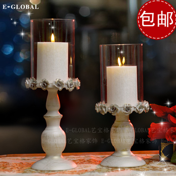 Valentine's Day Candle Candlestick iron wedding props Western-style food dinner table glass candle ornaments retro style
