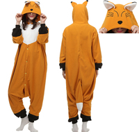 Adult Onesie Cartoon Animal Fox Costume Homewear Unisex Pajama Fleece Sleepwear Jumpsuit
