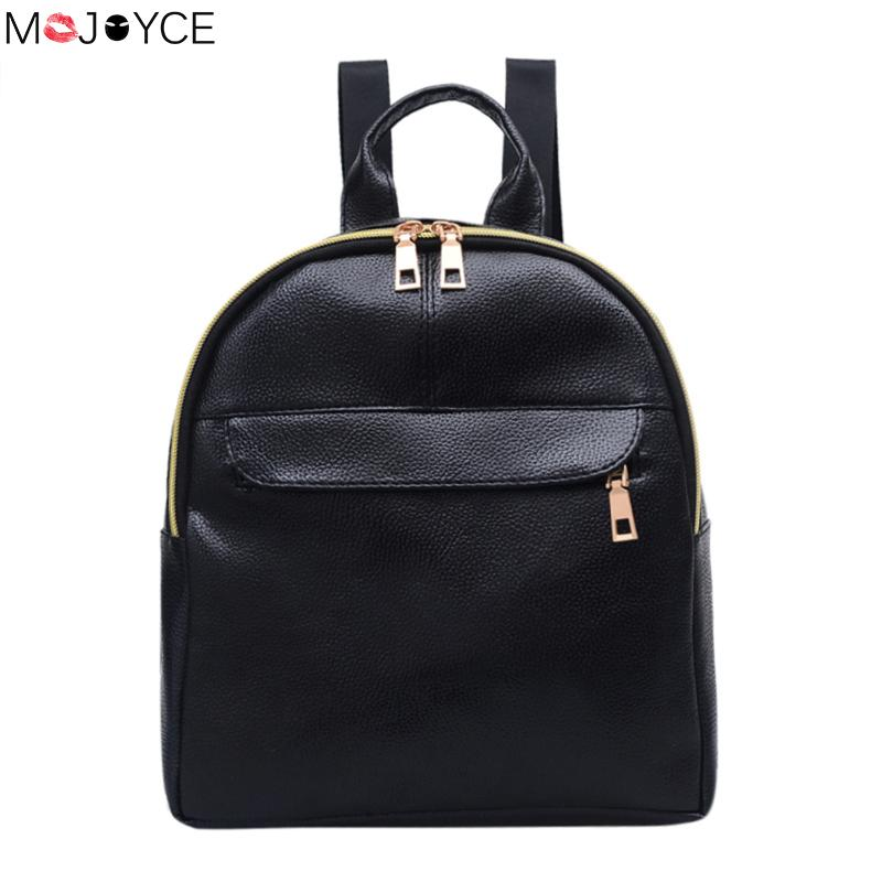 Mojoyce Women Retro Backpack Pu Leather Bag Small Women Backpack Mochila Feminina School Bags For Teenagers