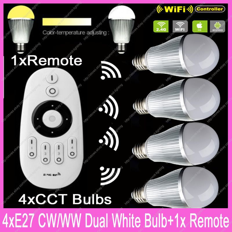 4x E27 Mi.Light 9W Color Temperature Adjustable Dual White CW/WW CCT WiiFi Compatible LED Bulb AC85-265V +1x2.4G Wireless Remote ac110v 240v dx62 wall mount 2 4g rf wireless led sync cct color temperature controller dmx512 signal ouput for dual white strip