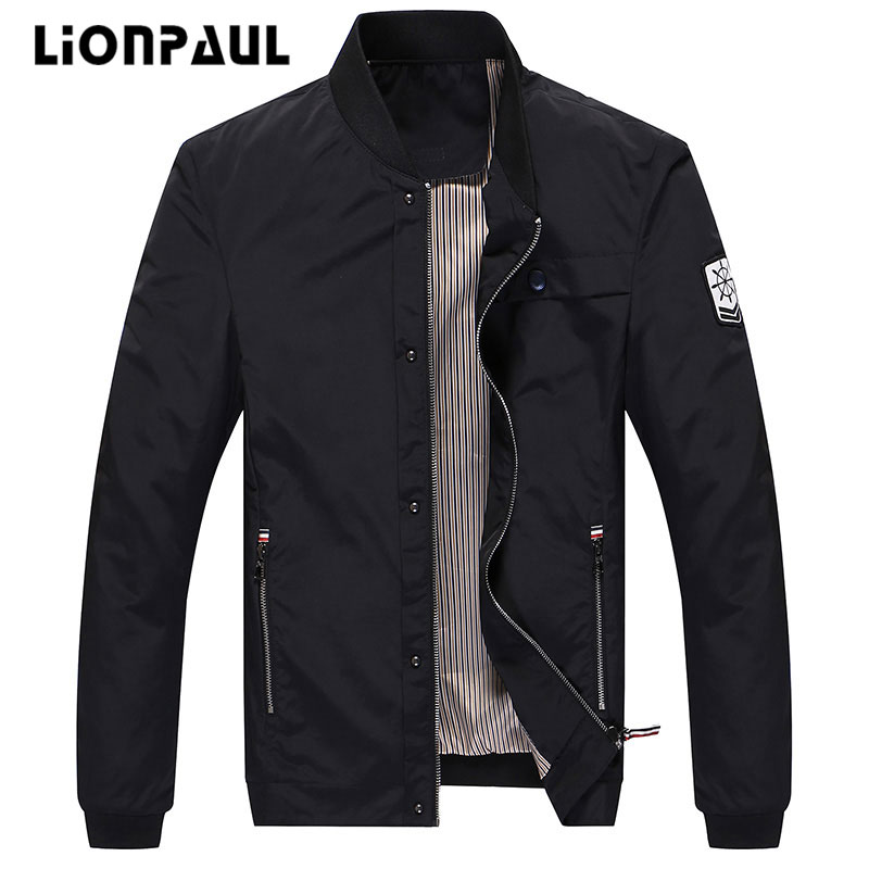 LIONPAUL New Arrival Spring Men s Jackets Solid Fashion Coats Male Casual Slim Stand Collar Jacket