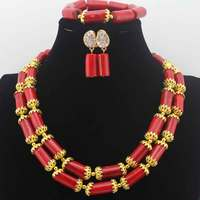 African Red Coral Beads Jewelry Set Christmas New Design African Nigerian Wedding Coral Necklace Jewelry Set Free Ship HD8610