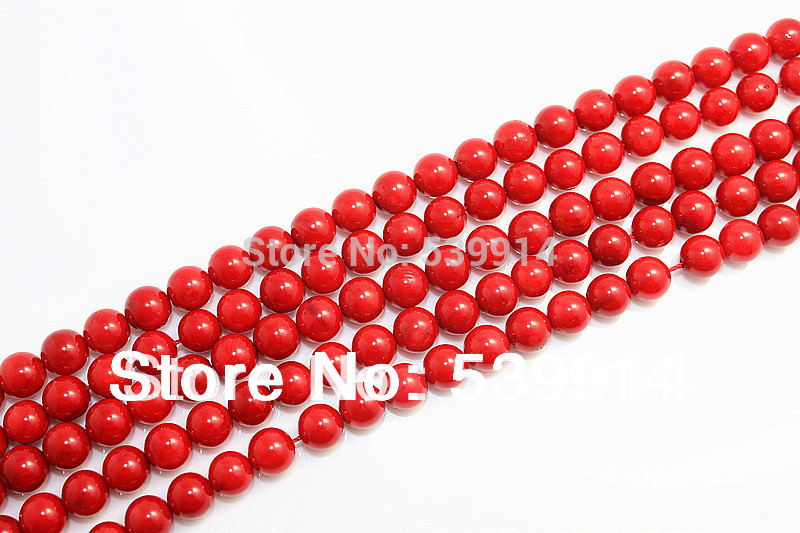 3 8 Red Stone : Natural stone coral beads mm red
