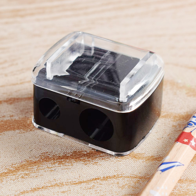 Fashion 2 Holes Precision Cosmetic Pencil Sharpener For Eyebrow Lip Liner Eyeliner Pencil School Office Supply Gift Hot Sale 4