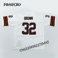 Retro star #32 Jim Brown Embroidered Throwback Football Jersey