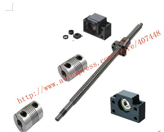 1 Antibacklash Ballscrew 2005-1100mm-C7+1 BK/BF15+Nut- Housing+coupler  For Cnc