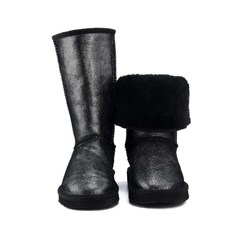 """JXANG למעלה איכות עור אמיתי שלג מגפי נשים עמיד למים גבוהה חורף מגפי נשים חמות ארוך מגפי ארה""""ב 3- 13"""
