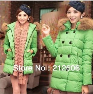 2013 New Arrival Candy Color Women's Fur Collar Down Coat Fashion Medium-long Jacket Female Winter Clothing Free Shipping