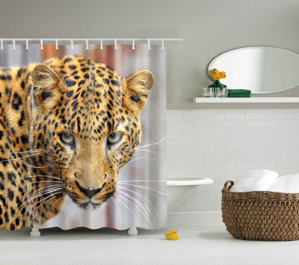 Leopard shower curtain - Papa Mima Wild Leopard Animals Waterproof Shower Curtains Polyester Bathroom Curtains With Hooks 150x180 180x180cm Decorative