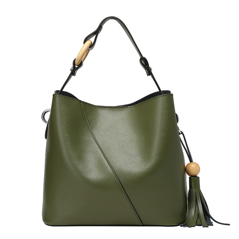 new leather bucket bag female portable Xiekua package all match bag leather