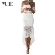 WUHE Two Pieces Sets Women Hollow Out Crochet Bodycon Lace Dress Sexy Strapless Off Shoulder Elegant Summer Sheath Party