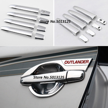 Car Styling ABS Chrome handle Protective Cover Door Handle Outer Bowls Trim For Mitsubishi Outlander 2016 2017 2018 2019