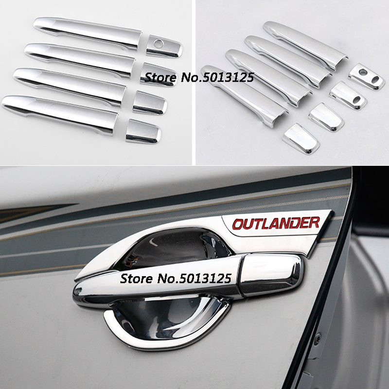 Car Styling ABS Chrome handle Protective Cover Door Handle Outer Bowls Trim For Mitsubishi <font><b>Outlander</b></font> <font><b>2016</b></font> 2017 2018 2019 image