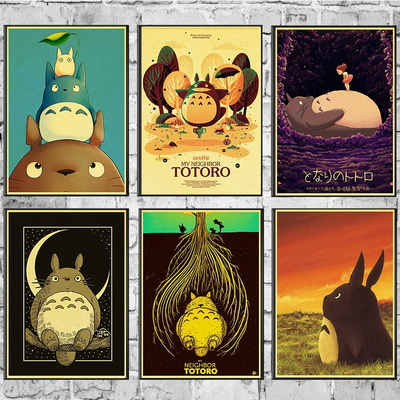 Miyazaki Hayao My Neighbor Totoro Poster Cartoon Anime Decorative Vintage Movie Posters Kidsroom Wall sticker image