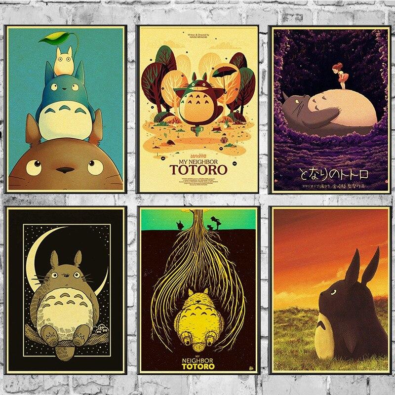 Miyazaki Hayao My Neighbor Totoro Poster Cartoon Anime Decorative Vintage Movie Posters Kidsroom Wall Sticker