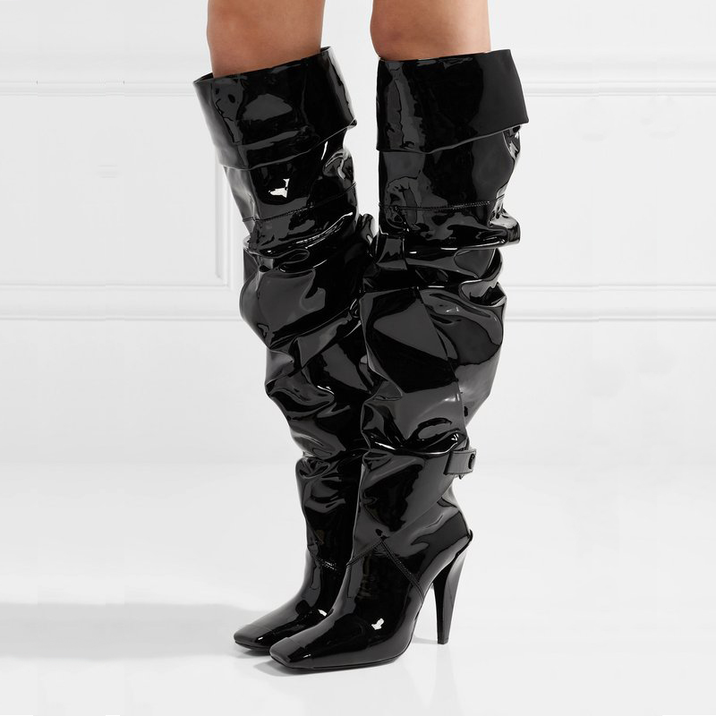 Patent Leather Pleated Women Full Boots Black Knee High Long Boots Patchwork Design Square Toe Autumn Winter Ladies Shoes black pleated design drawstring waist skorts