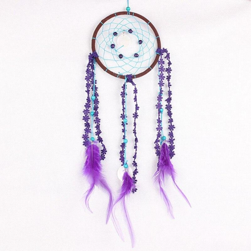 Handcrafts Dreamcatcher with Purple Floral Feather Children Room Decorations Pendant Dream Catcher Wind Chime