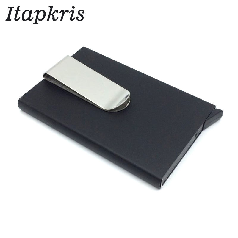 US $4 55 35% OFF|Itapkris Metal Business ID Travel Card Case Automatic Pop  Up ID Credit Card Holder Stainless Steel Clip Case Wallet-in Card & ID
