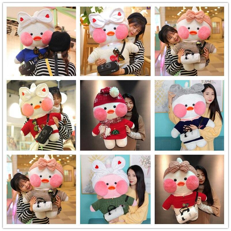 80cm Kawaii LaLafanfan Cafe Duck Plush Toy Cartoon Cute Duck Stuffed Doll Soft Animal Dolls Kids