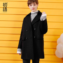 31d3691ae06c5 Toyouth Woollen Coat 2019 Winter Casual Solid Color Double-Breasted Jacket  Female Slim Long Wool