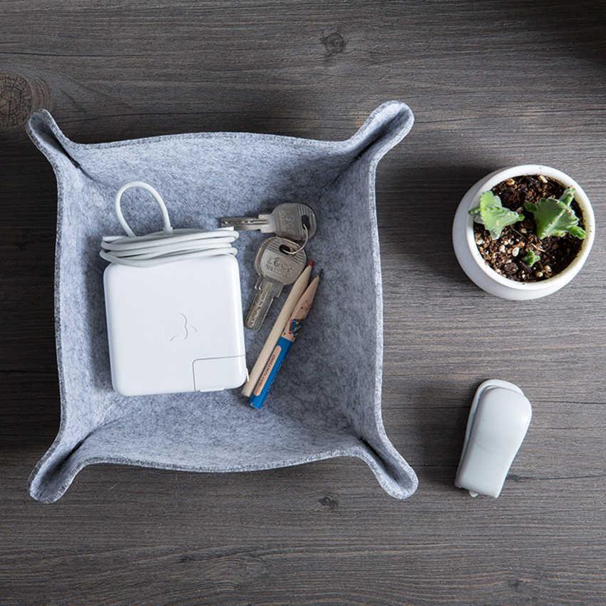 Kain Merasa Tray Penyimpanan Peralatan Kontainer Desktop Puing-puing Kotak Penyimpanan Pemegang Kantor Ruang Tamu Meja Kopi Kotak dengan Tombol