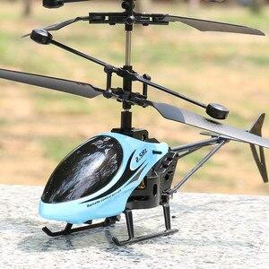 Image 2 - Mini RC pilot indukcyjny na podczerwień RC zabawka 2CH Gyro helikopter RC zdalnie sterowany dron helikopter niebieski zielony Model a612