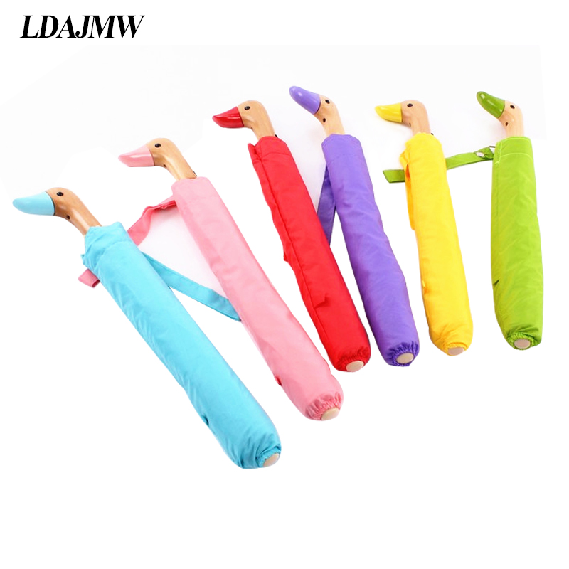 LDAJMW Handle Wooden Lovely Duck Head Umbrella Sunny And Rainy Umbrella Automatic Dual Folding Sun Parasol For Women Men Gifts