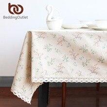 Beddingoutlet mantel floral estilo fresco cubierta de tabla decoración línea de algodón mantel rectangular 9 tamaños